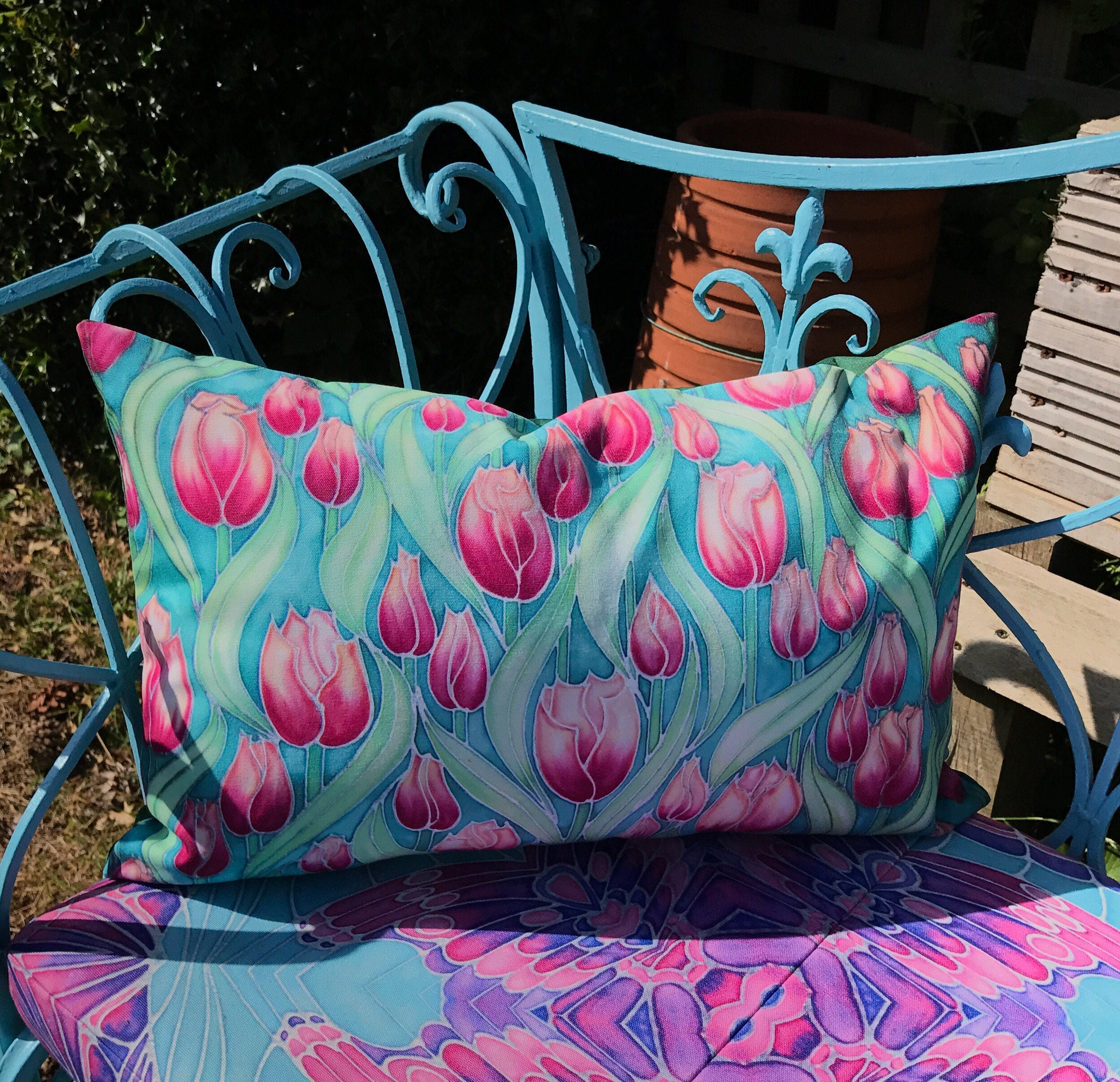 Pink Tulips Showerproof Pillow  Pink and Mint Green Tulips Exterior Pillow  Tulip Garden Seat Cushion in Candy Colours  Decorative