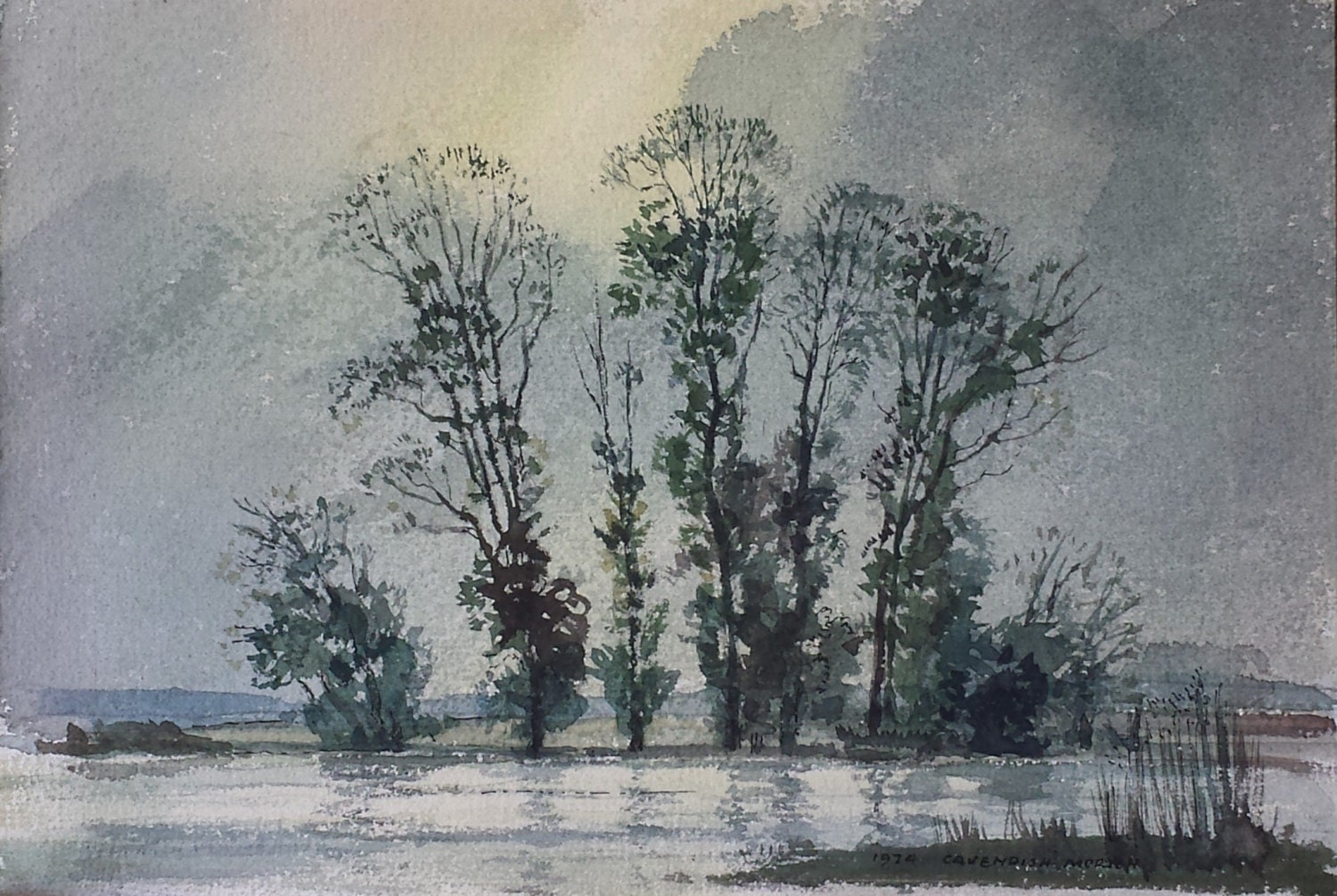 Original Watercolour On Board By Cavendish Morton 1974  RI Hon ROI 1911 2015  Trees and lake suffolk landscape painting