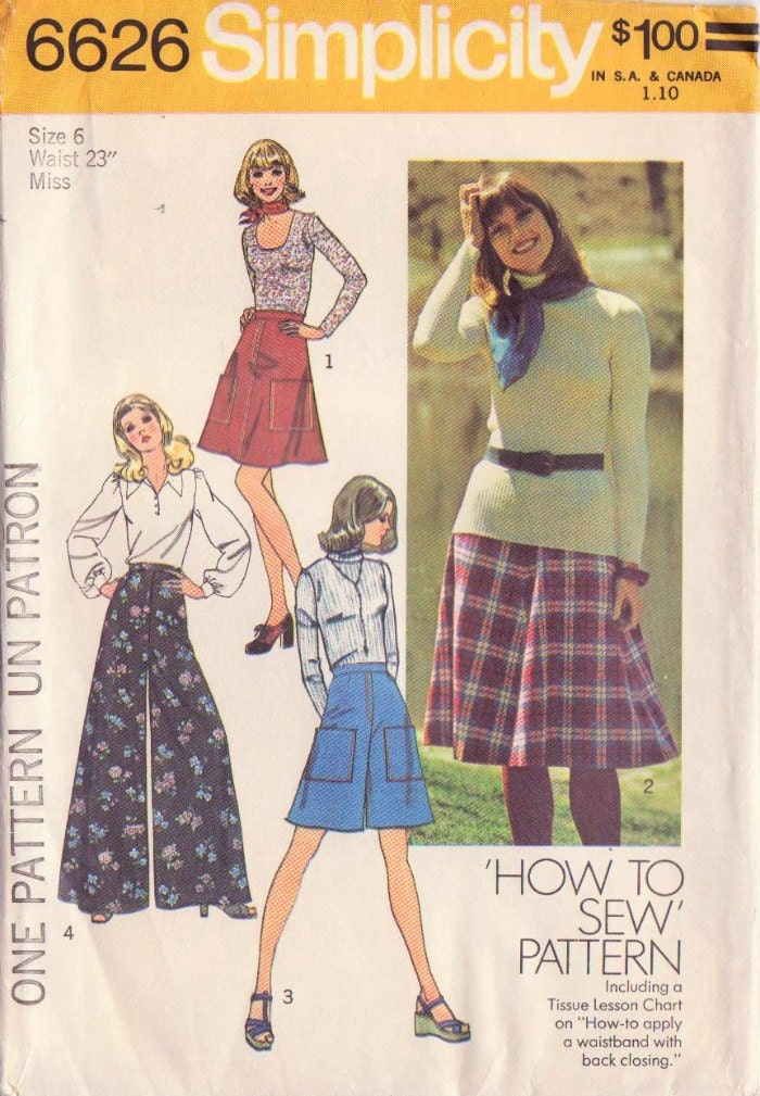 1970s Vintage Simplicity Skirt and Pants Sewing Pattern-Size 6