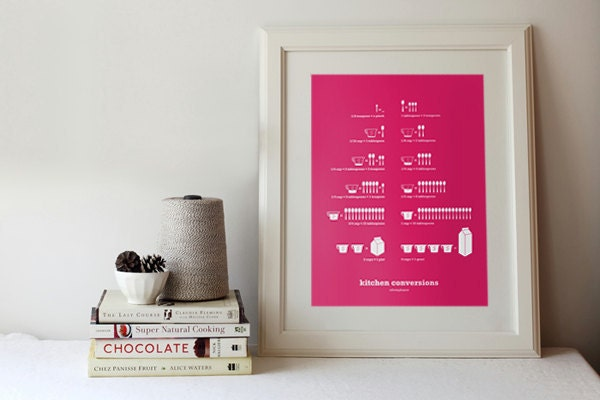 Kitchen Conversions Hot Pink, 13 x 19 Poster - Kitchen Art - Home Decor - SweetFineDay