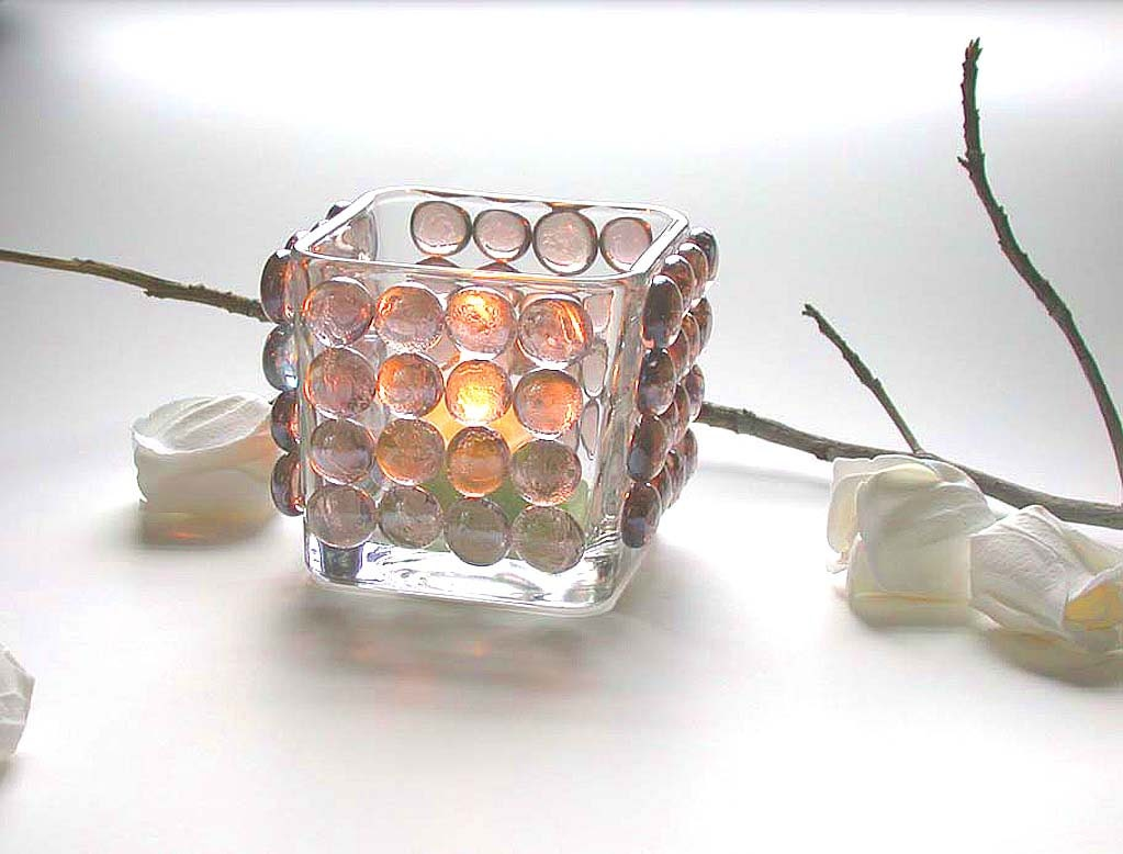 Items similar to Candle Holder Home Decor Lilac Glass