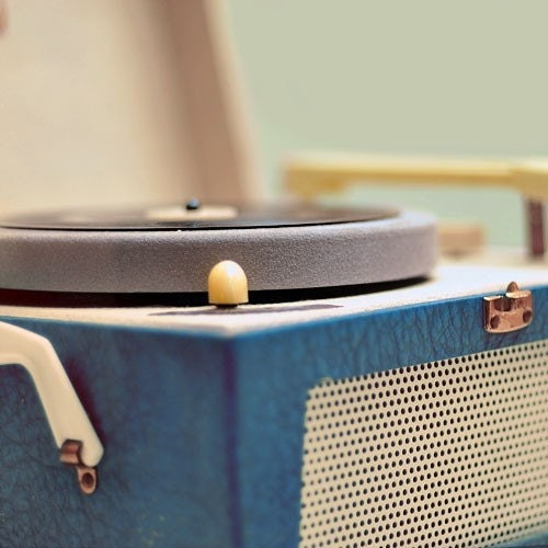 Vintage Record Player Photograph -Songbird 5x5 Print - retro modern simple wall art photo - alicebgardens