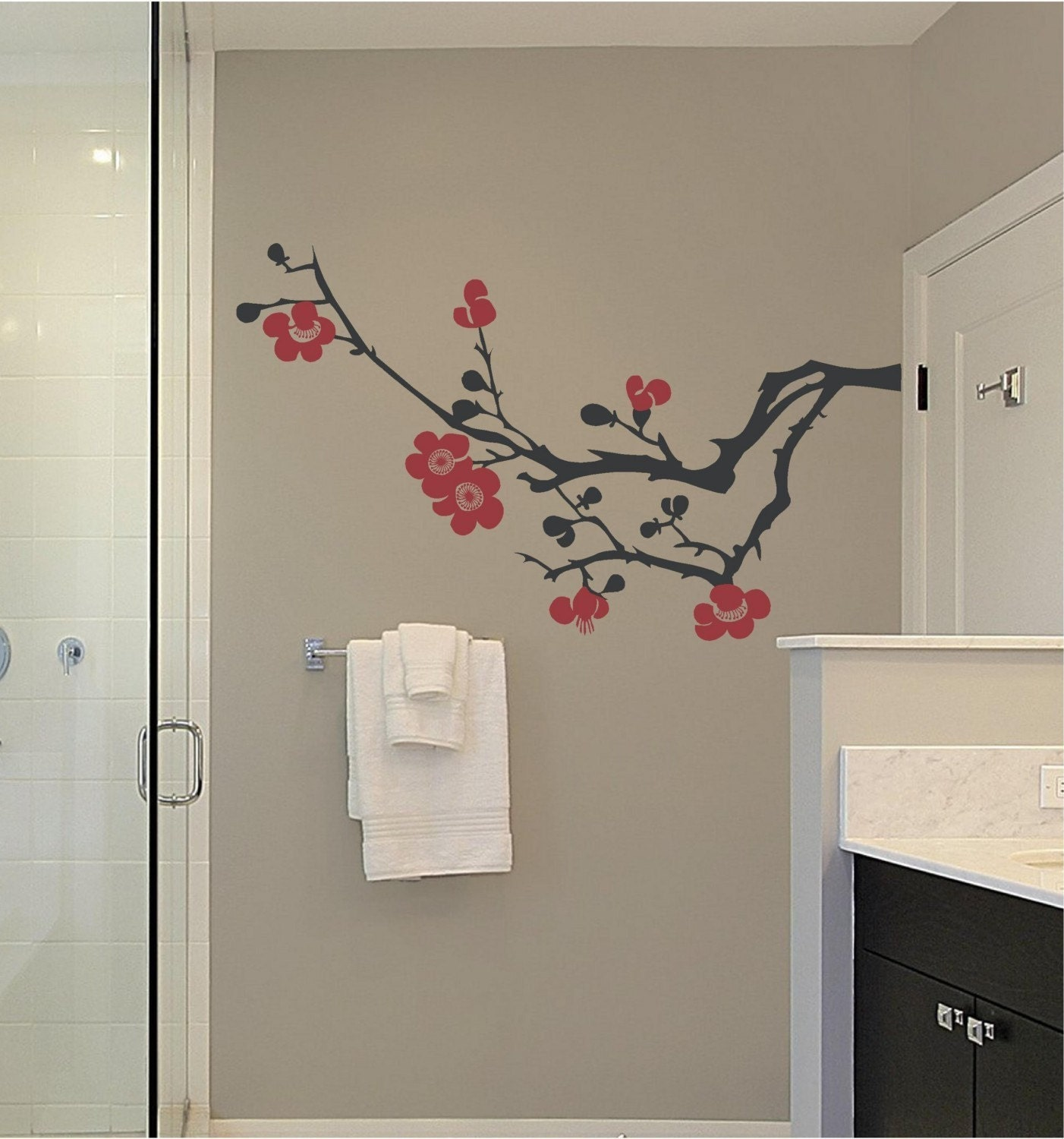 Bathroom Lettering Decor : Tree branch magnolia new bathroom custom vinyl by