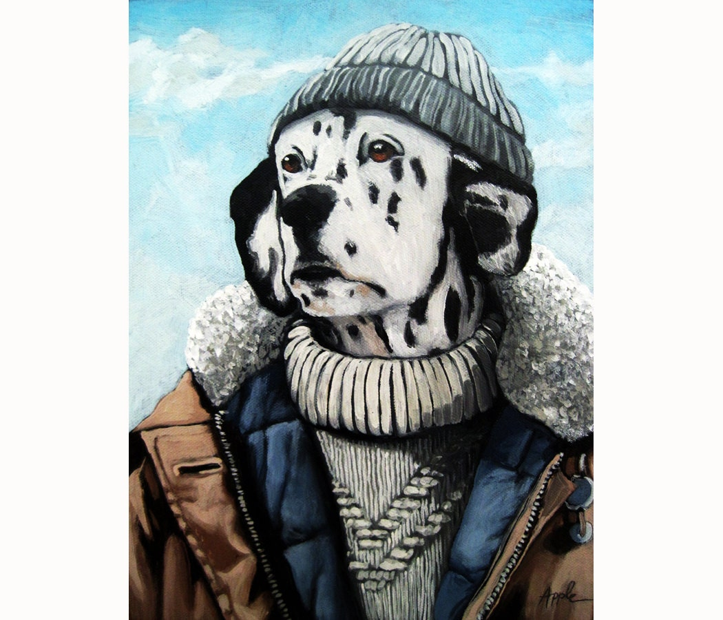DALMATIAN Dog animal portrait anthropomorphic ooak large ORIGINAL oil painting - appleart