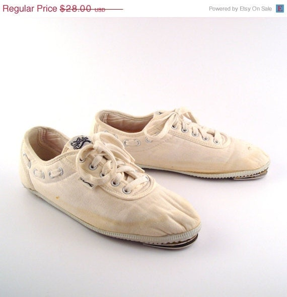 tap shoes white canvas sneakers vintage by purevintageclothing