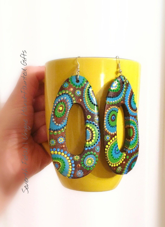Statement Wooden Earrings Puntillismo Earrings Boho Turquoise Hand Painted Earrings  Boho Earrings Ethno Summer Jewellery Oversized