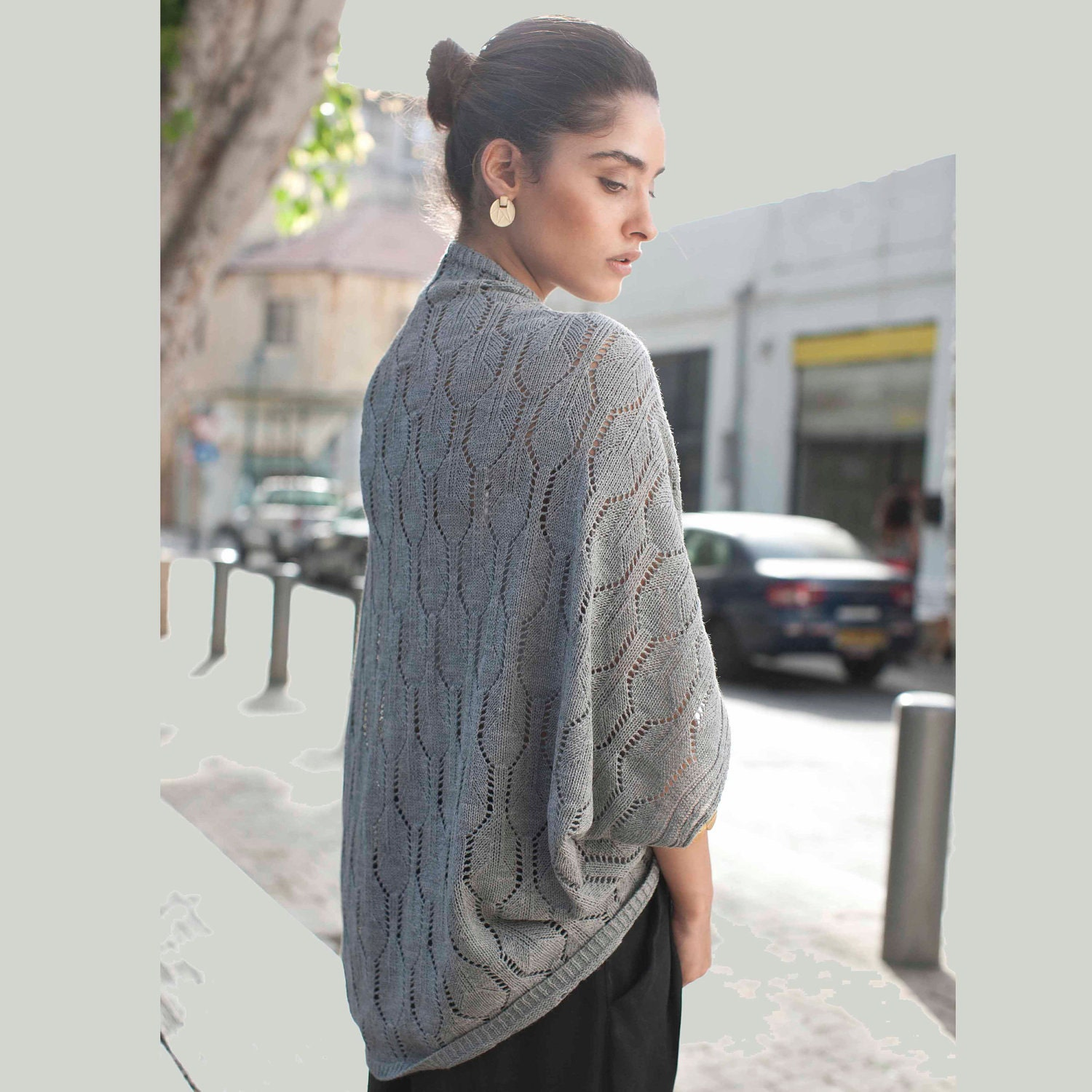 Women summer knitted cardigan, grey jacket, one size fits all - AndyVeEirn