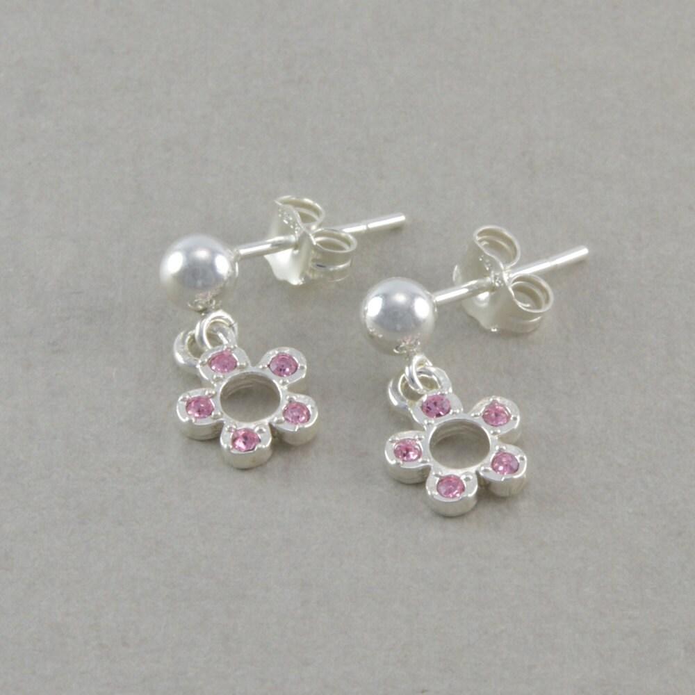 little girls pink flower earrings sterling by. Black Bedroom Furniture Sets. Home Design Ideas
