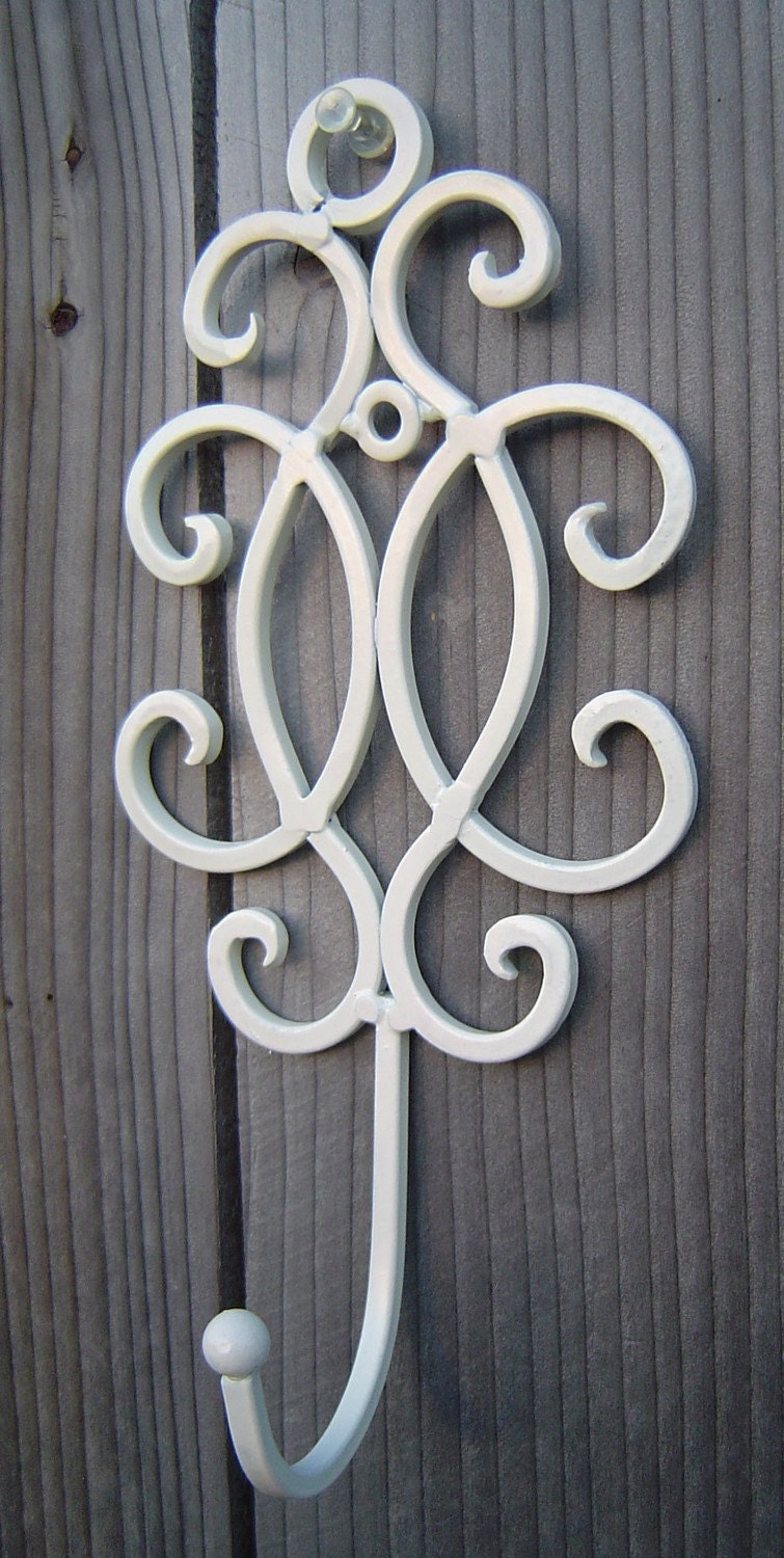 Items Similar To Shabby Scroll Iron Hook Metal Wall