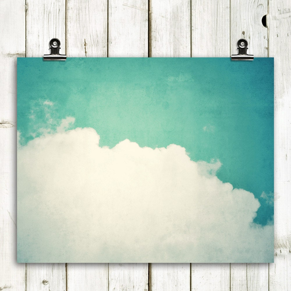 "cloud, photograph, large wall art, wall decor, modern home decor, cloud art, aqua blue, rustic decor, wall art  - ""The Souls of Happy Ships"" - MTPhotoJournal"