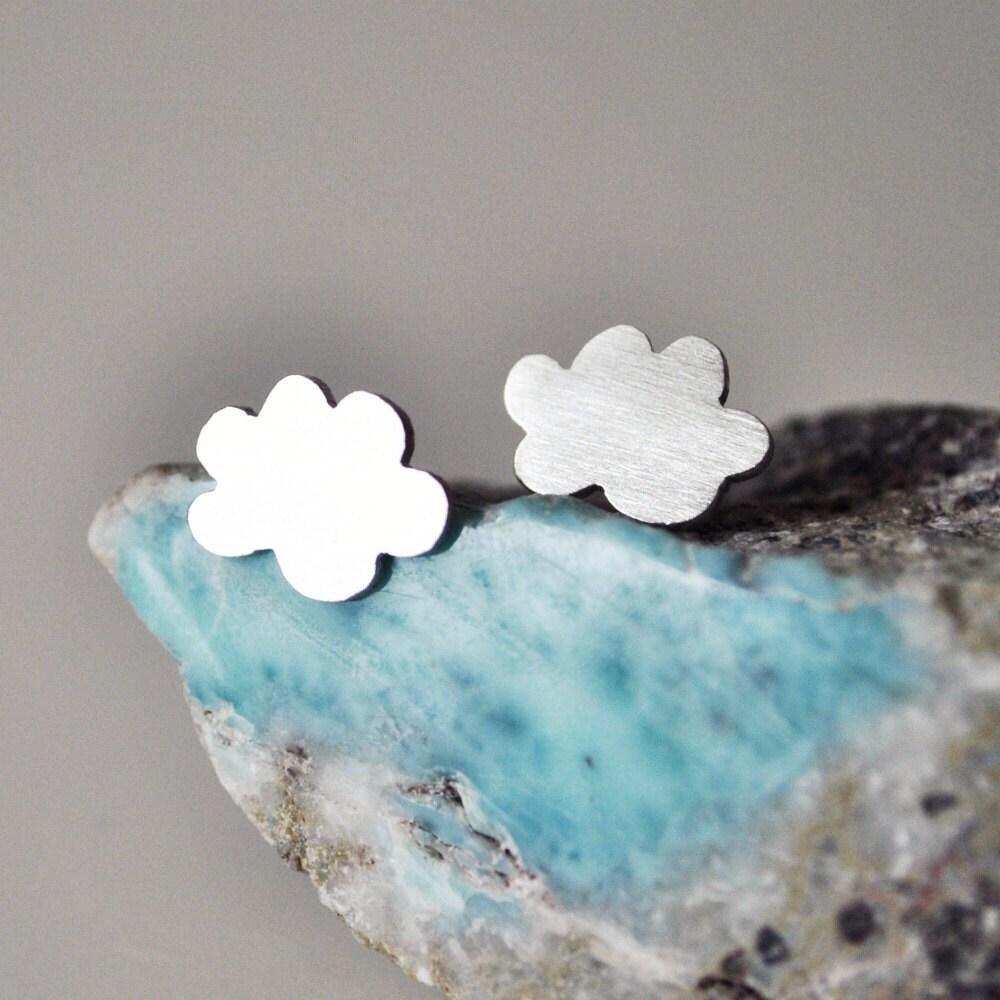 Happy Cloud Stud Earrings made of Sterling Silver - TheAngryWeather