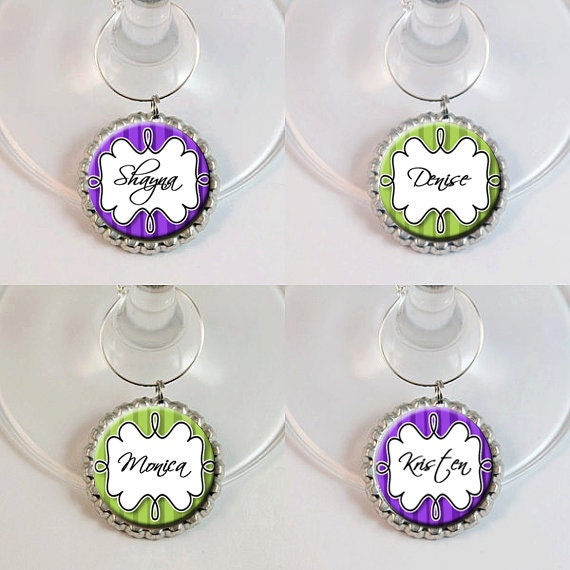 items similar to personalized wine glass charms custom