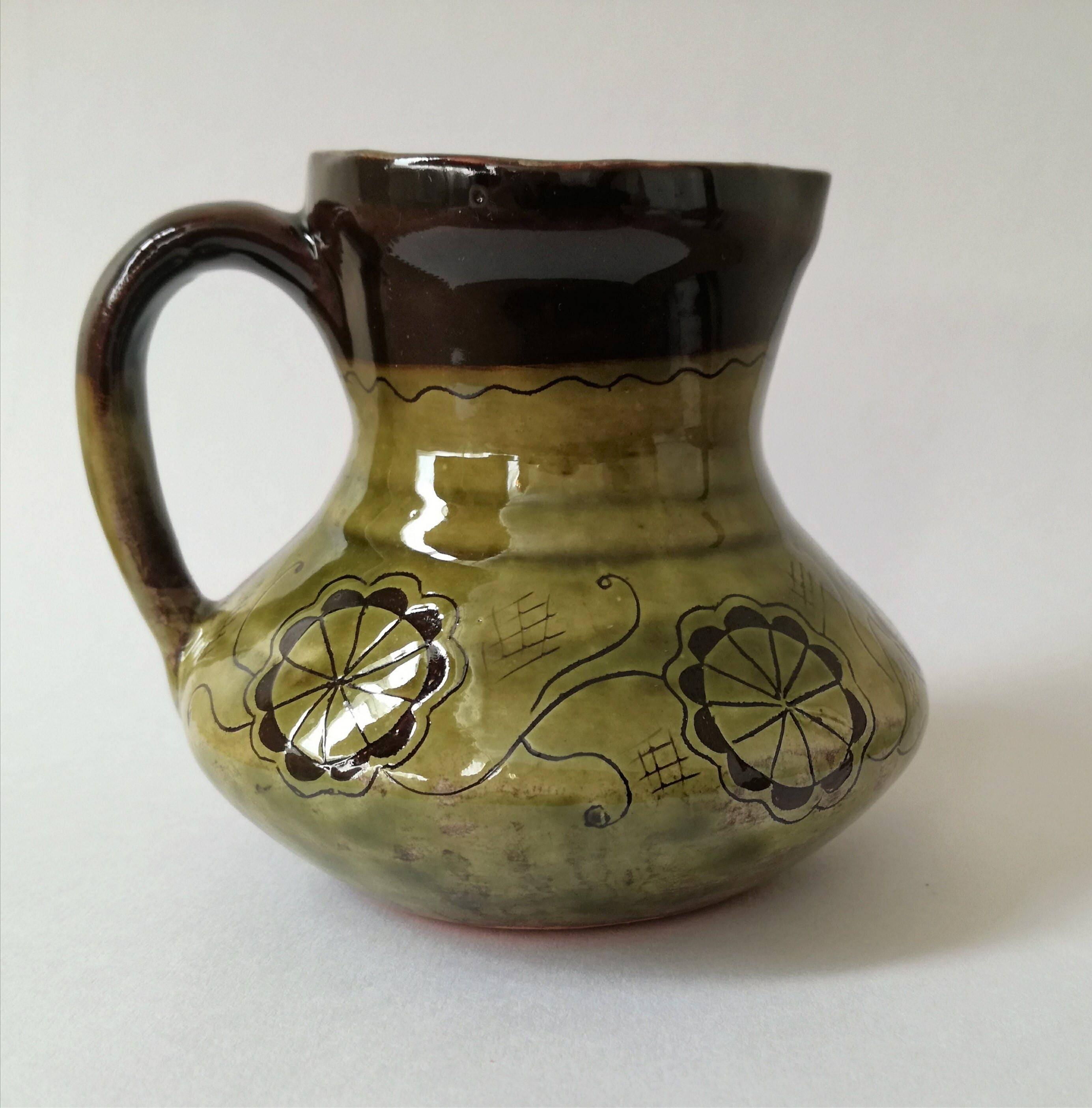 Ceramic green jug Decorated pottery jug Handmade jug vase Flower jug Ornament jug Art deco Handmade jug
