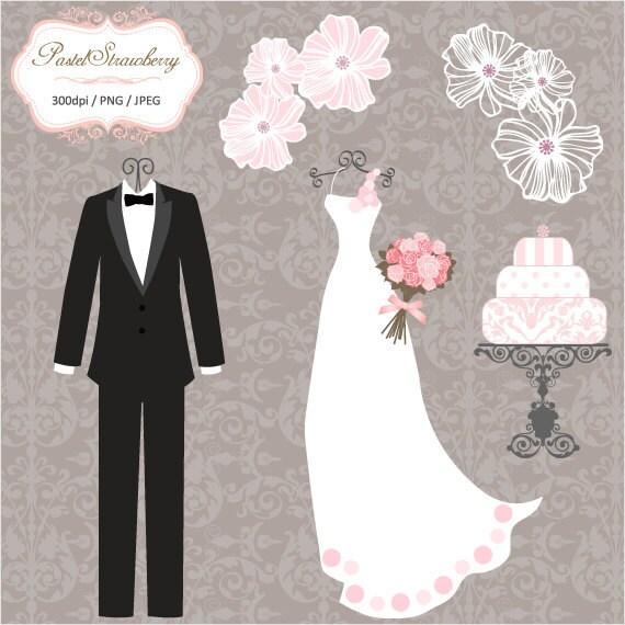 Luxury wedding dress 2 Tuxedos Clip Art P038