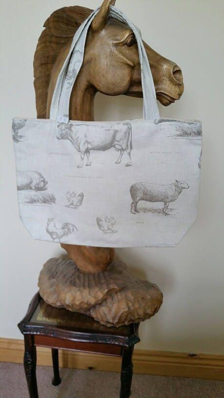 Handmade Designer Tote Bag (large)  Cream  Farm Animal Design