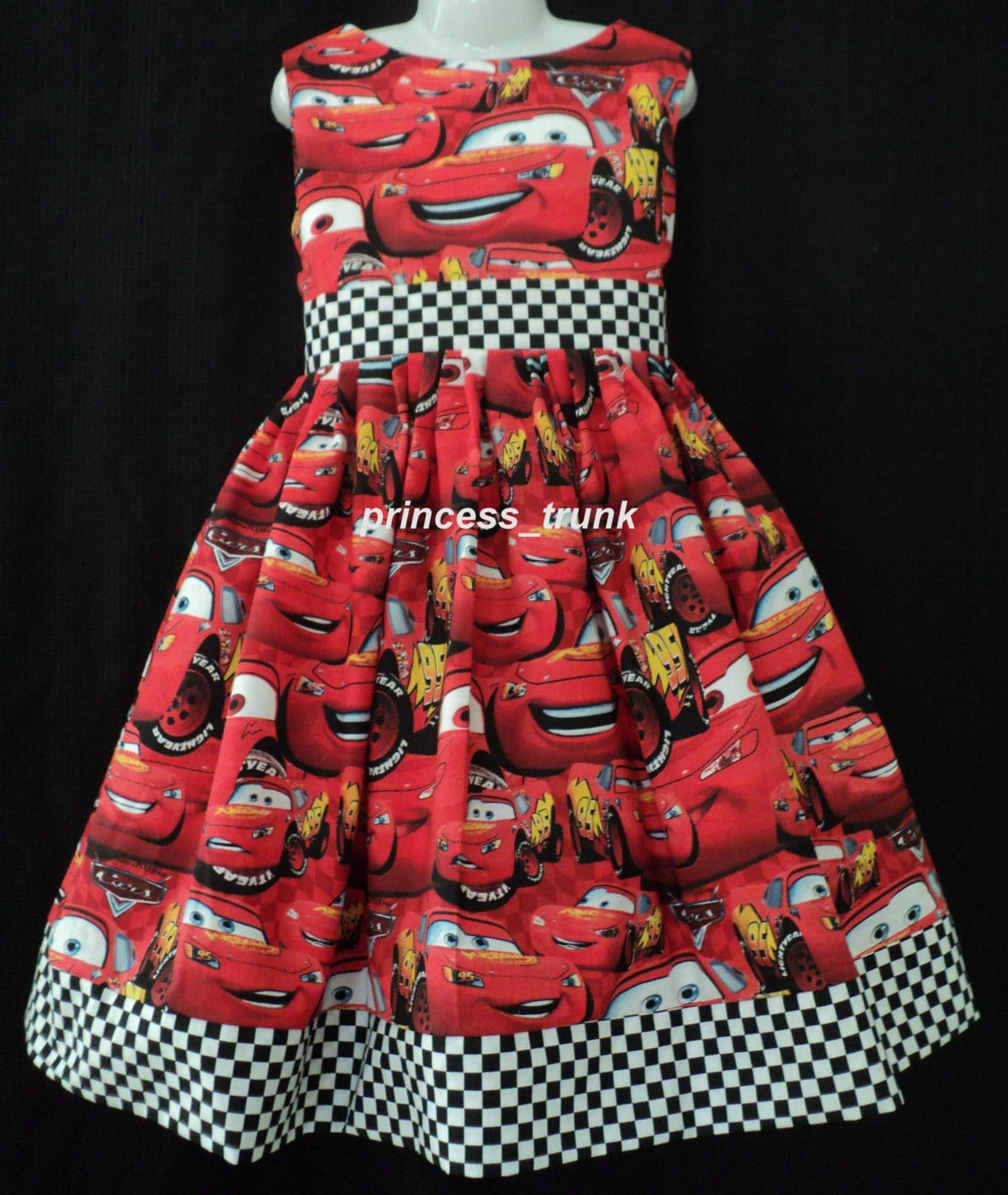 NEW Handmade VHTF Disney Pixar Red Mcqueen Cars Dress Custom Sz 12M-14yrs