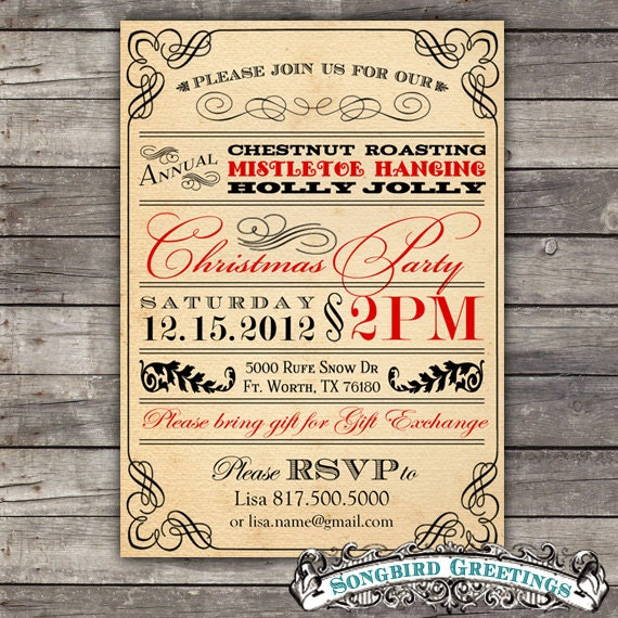Diy Vintage Christmas Party By Songbirdgreetings On Etsy