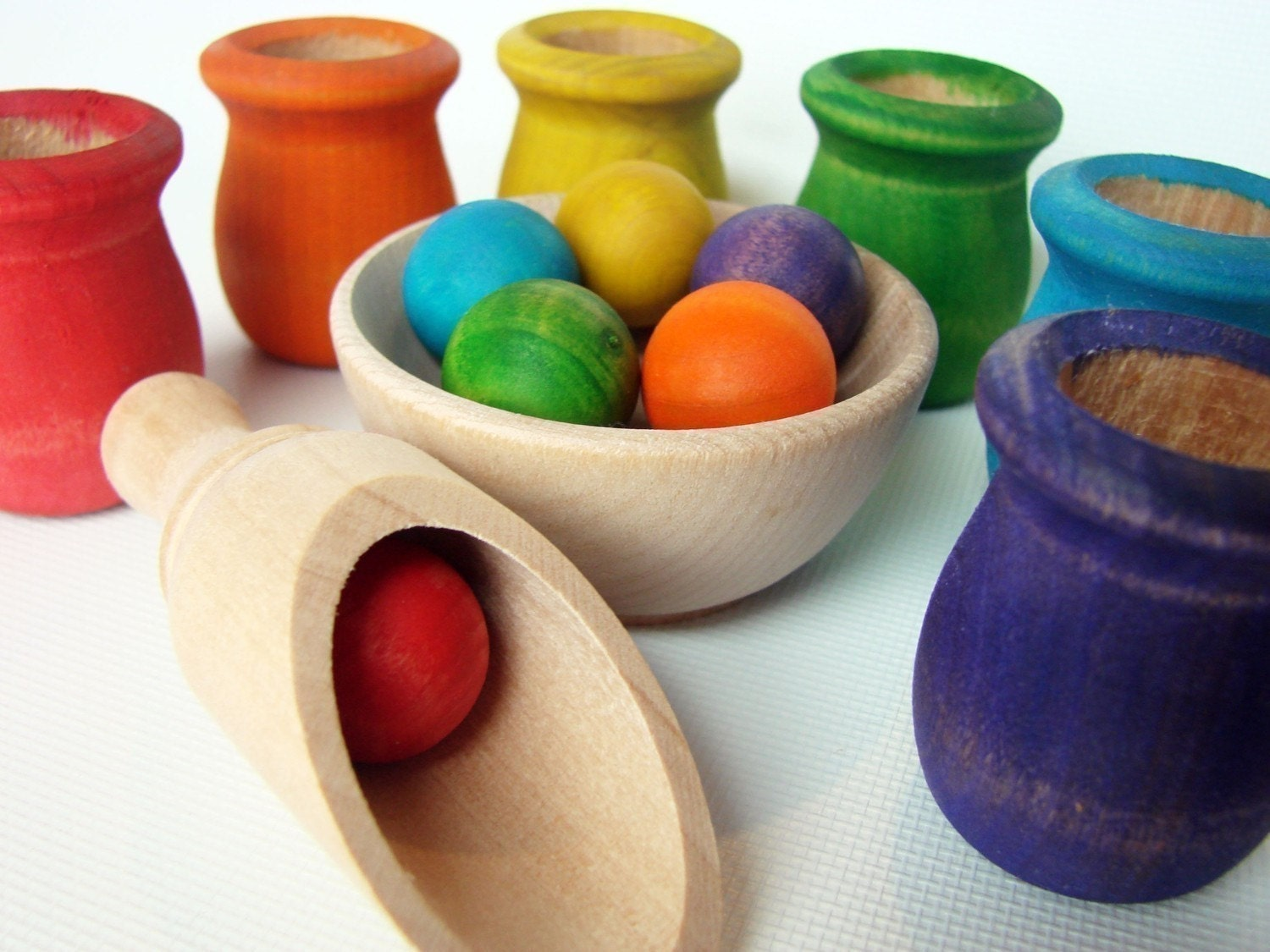 Colored Cups and Balls - A Montessori and Waldorf Inspired Wooden Materials Matching and Motor Skills Toy - MamaMayI