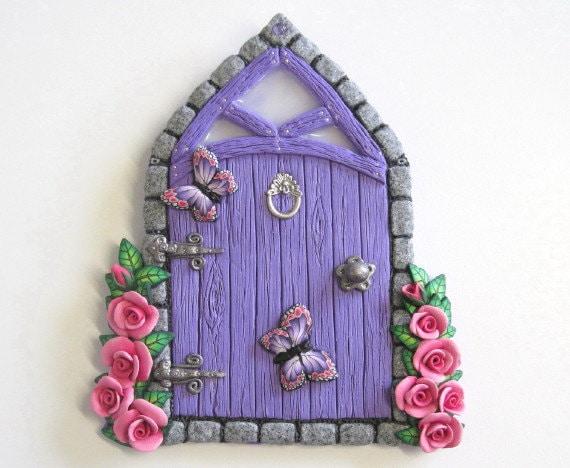 Amethyst Fairy door with Pink Roses