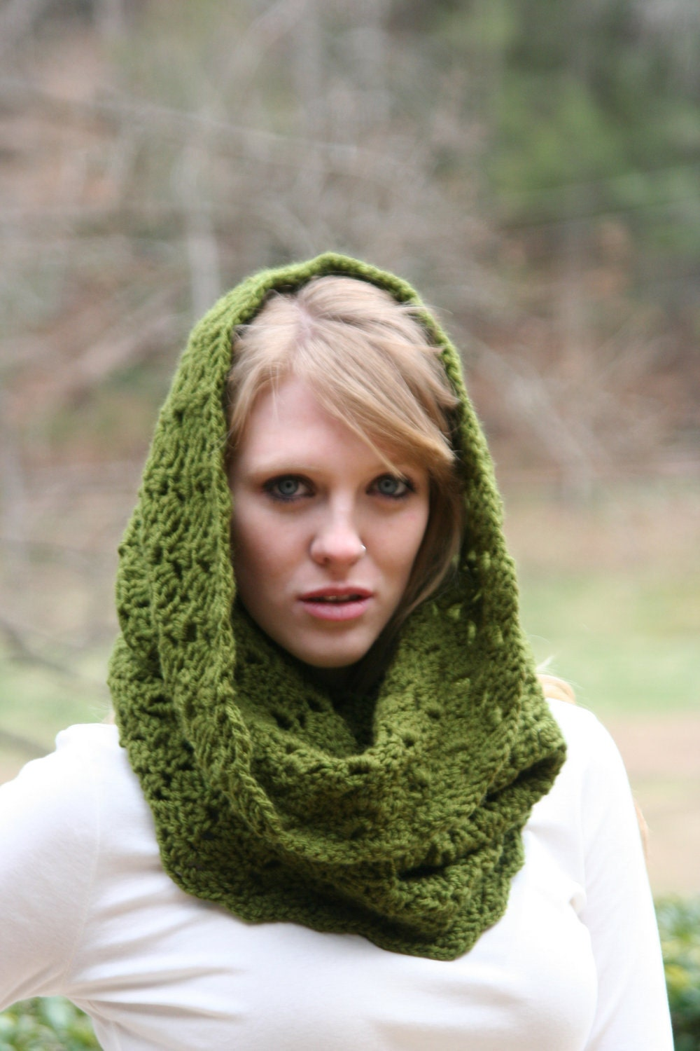 Olive Green - Textured Cowl Scarf - crochetgallery