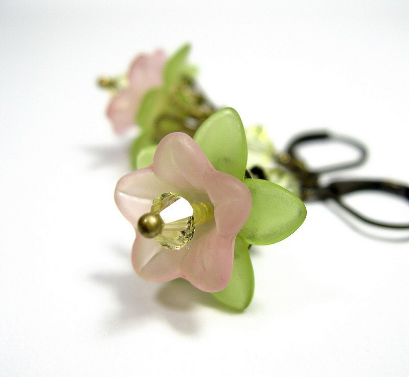 Pink, Lemon, Lime, Colorful, Pastel, Flower Earrings