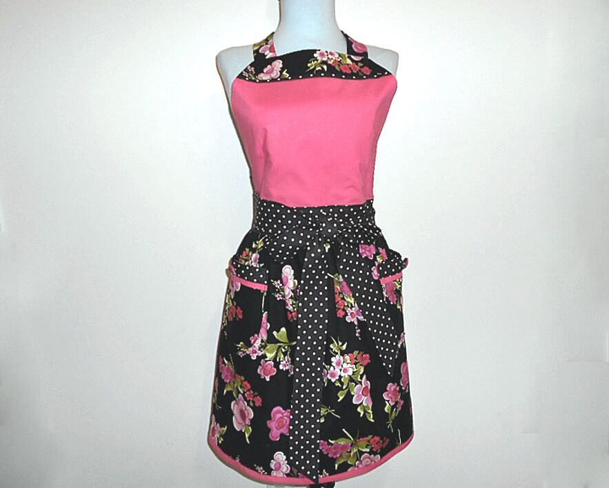 Bonito estilo handmade retro cintura reuniu mulheres cheios avental rosa brilhante e padrão floral em volta com bolinhas Um tamanho cabe mais