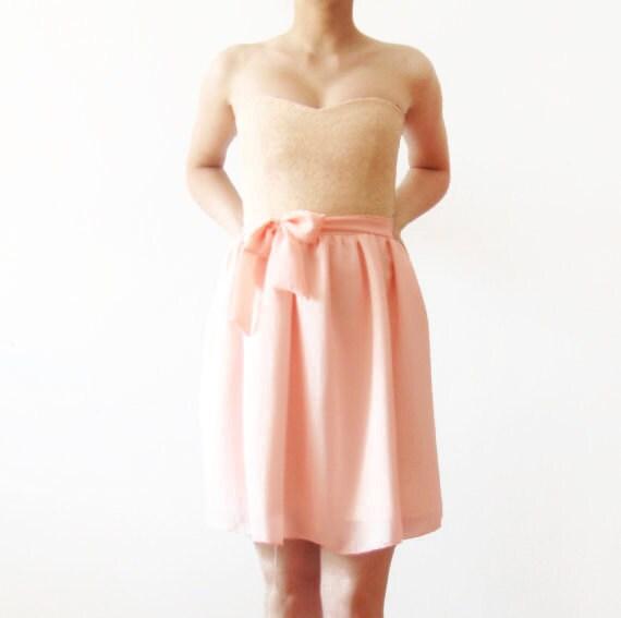 Just Peachy - Bridesmaids dress, pink bridesmaid dress, peach bridesmaid mini dress, strapless bridesmaids dress, cotton, chiffon and lace - dhela