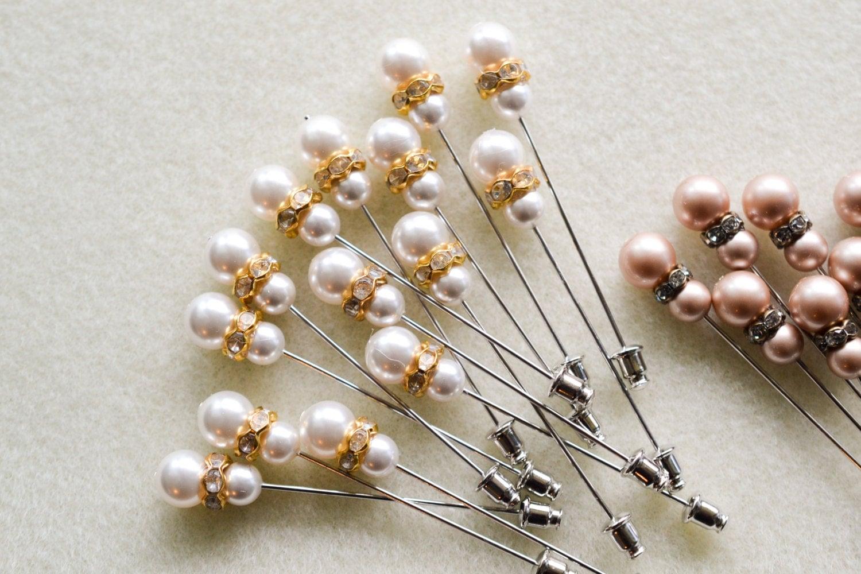 White Swarovski Pearl Hijab Pin