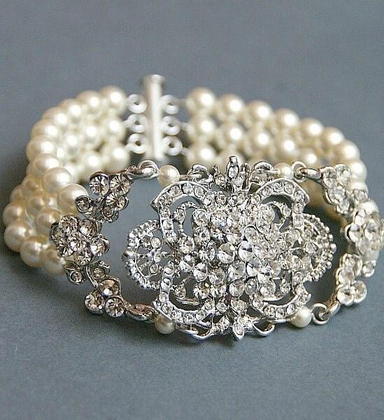 Wedding Pearl Bracelet Swarovski Bracelet By LavenderByJurgita