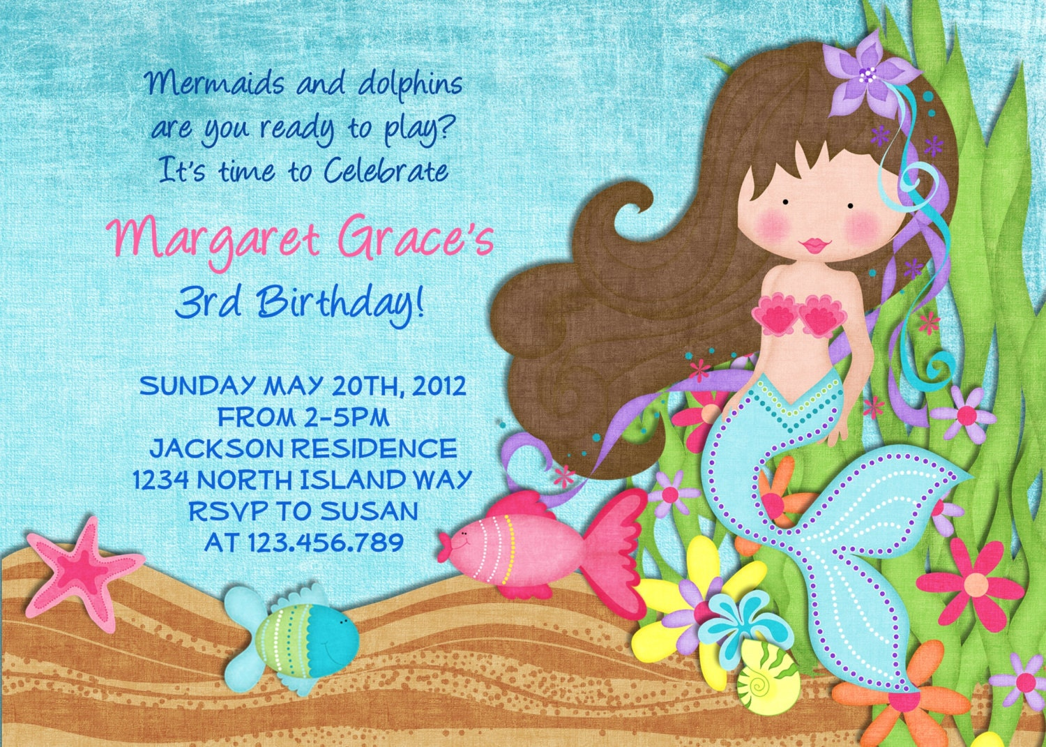 Little Mermaid Birthday Invitation Under the Sea by ...