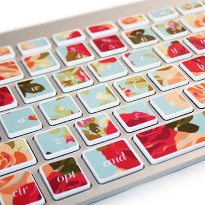 Macbook Keyboard Stickers Rose Floral Decal - kidecals