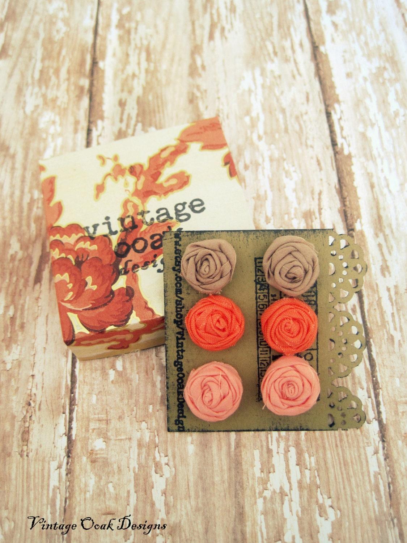 Rosette Flower Earring 6pc. Set , Coral Studs, Peach studs, Driftwood studs, Flower Stud Earrings, Bridesmaid Gift, Summer 2013 - VintageOoakDesigns