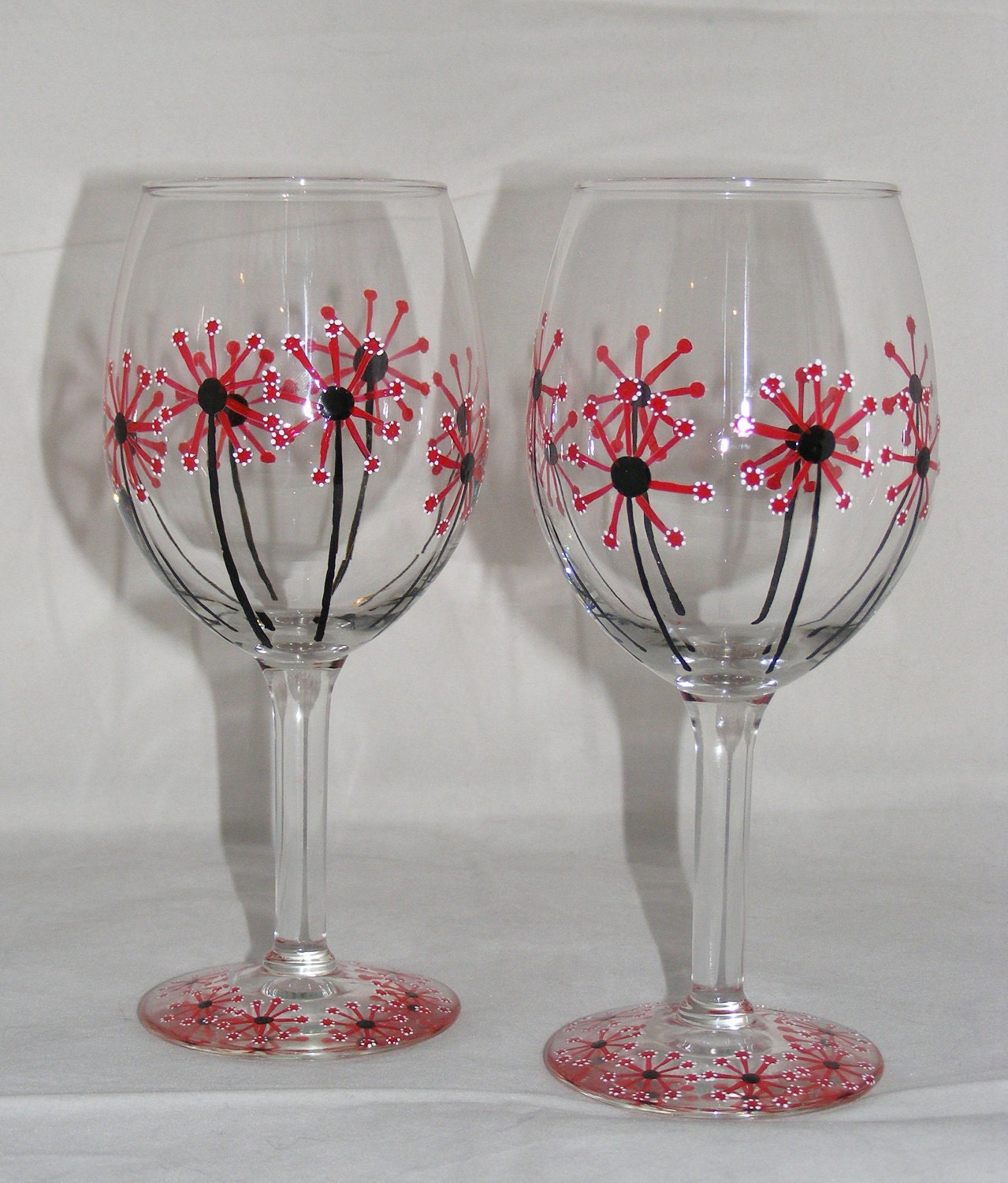 hand painted dandelion flower wine glasses one pair by
