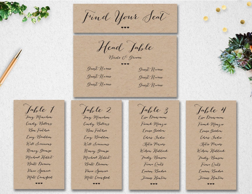 wedding seating chart template editable
