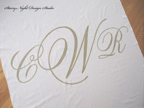 Monogram Wedding Aisle Runner on Real Cloth that Won 39t Rip or Tear Ivory