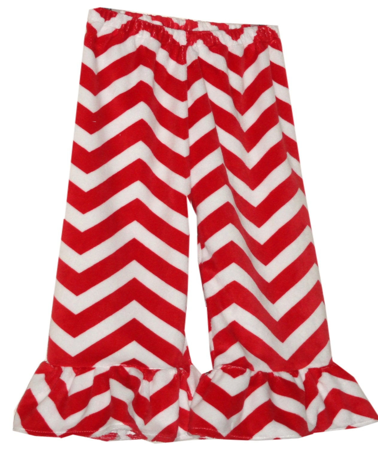 Girls Chevron Minky Ruffle Pants red white sizes 12m 2t 3t 4t 5t 6 7 8 10 - Amievoltaire