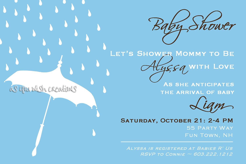 baby shower invitation umbrella rain by asyouwishcreations4u