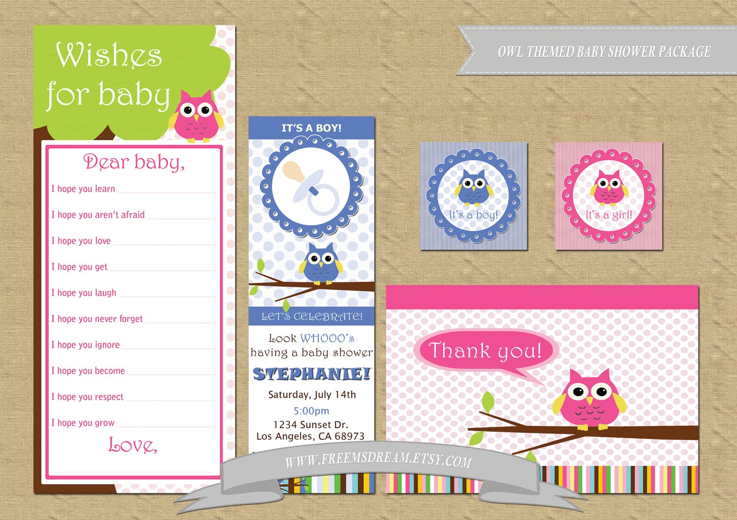owl themed baby shower package digital printable files only