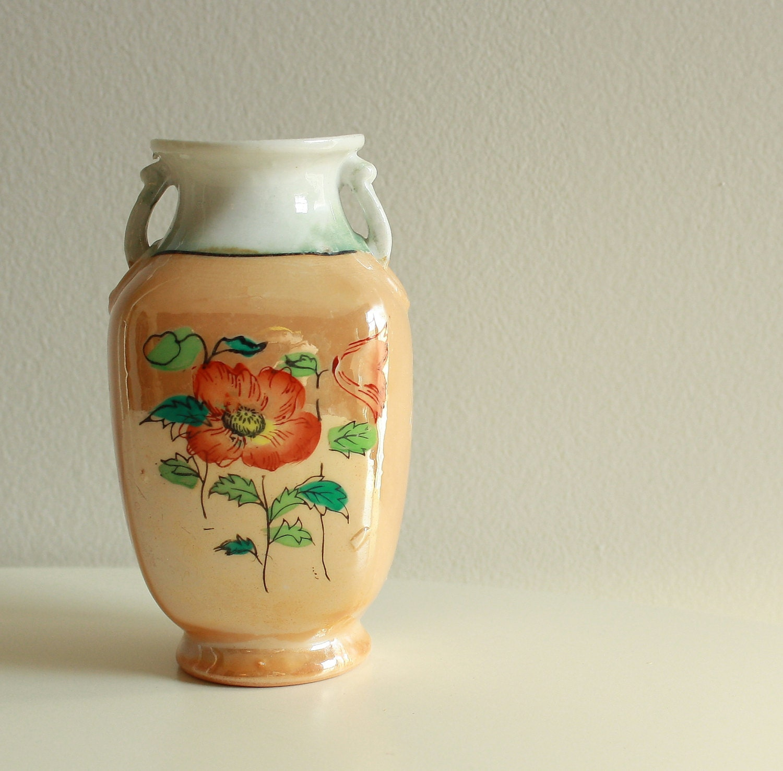 Antique Handpainted Vase. Vintage Asian Vase. Small Ceramic Vase. Asian Home Decor. Vintage Decorative Vase with Poppies - KLizVintage
