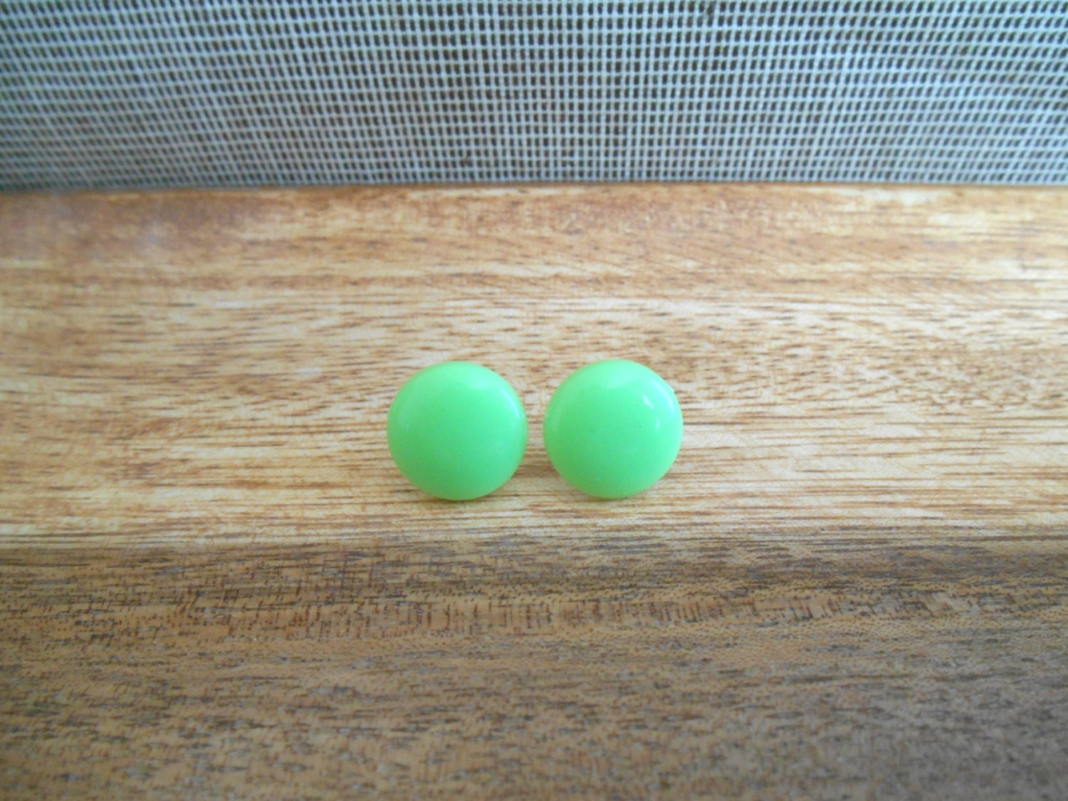 Yellow Green Stud Earrings - Yellow Green Round Earrings - Yellow Green Button Earrings - Yellow Green Circle Studs - ribbonday