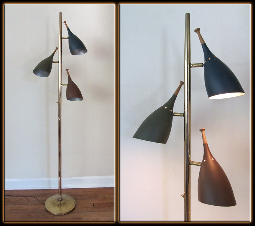 Vtg 60s Mid Century Modern Stiffel Style 3 Light By