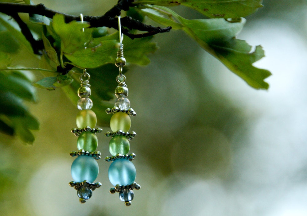 Pastel Beads Earrings, delicate dangle earrings with czech glass beads, spring fresh look - CrazyFoxDesign