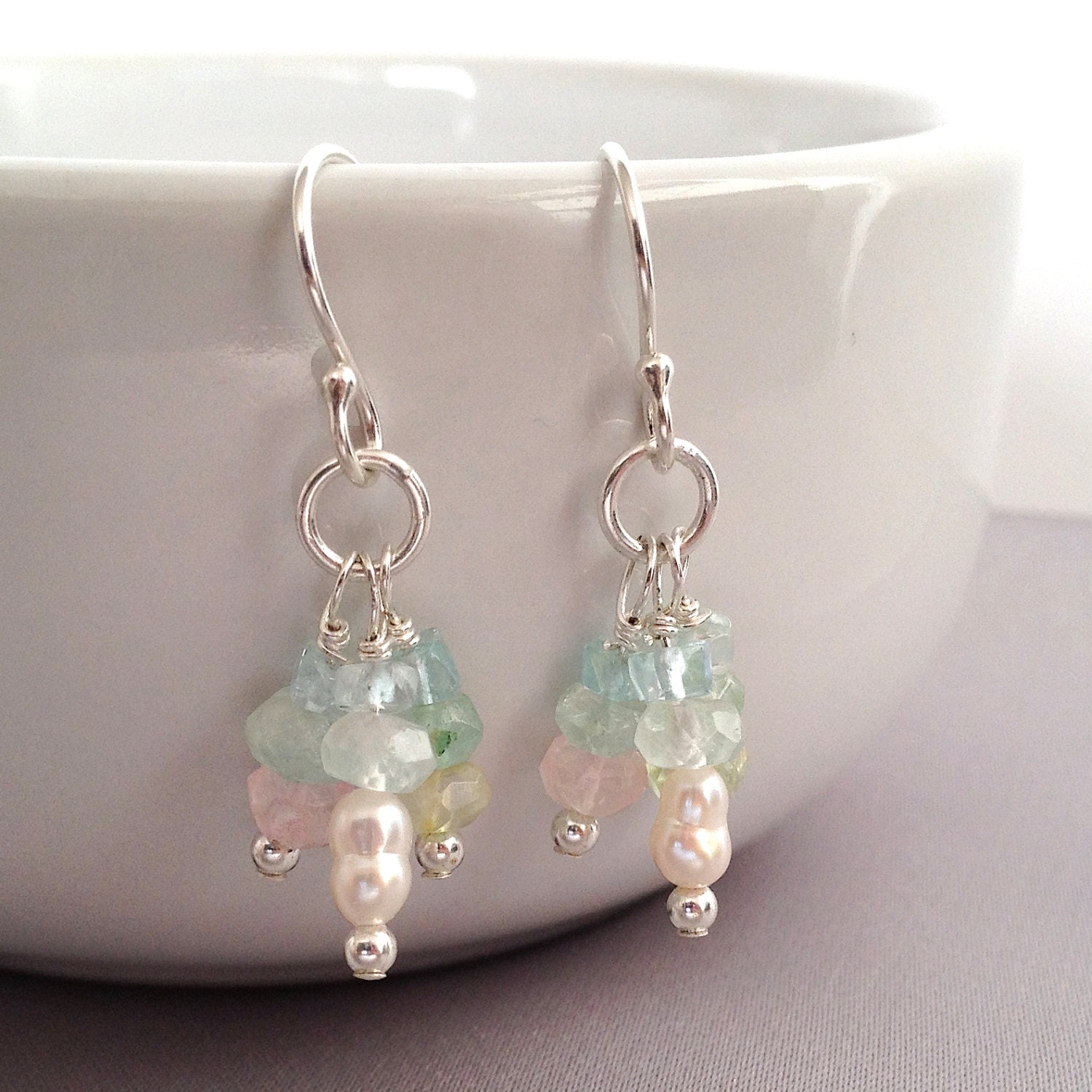 Dangly multicoloured natural aquamarine sterling silver earrings