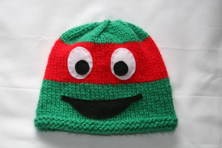 Knitting Pattern Turtle Hat : Items similar to Knit Ninja Turtle Hat - any size on Etsy