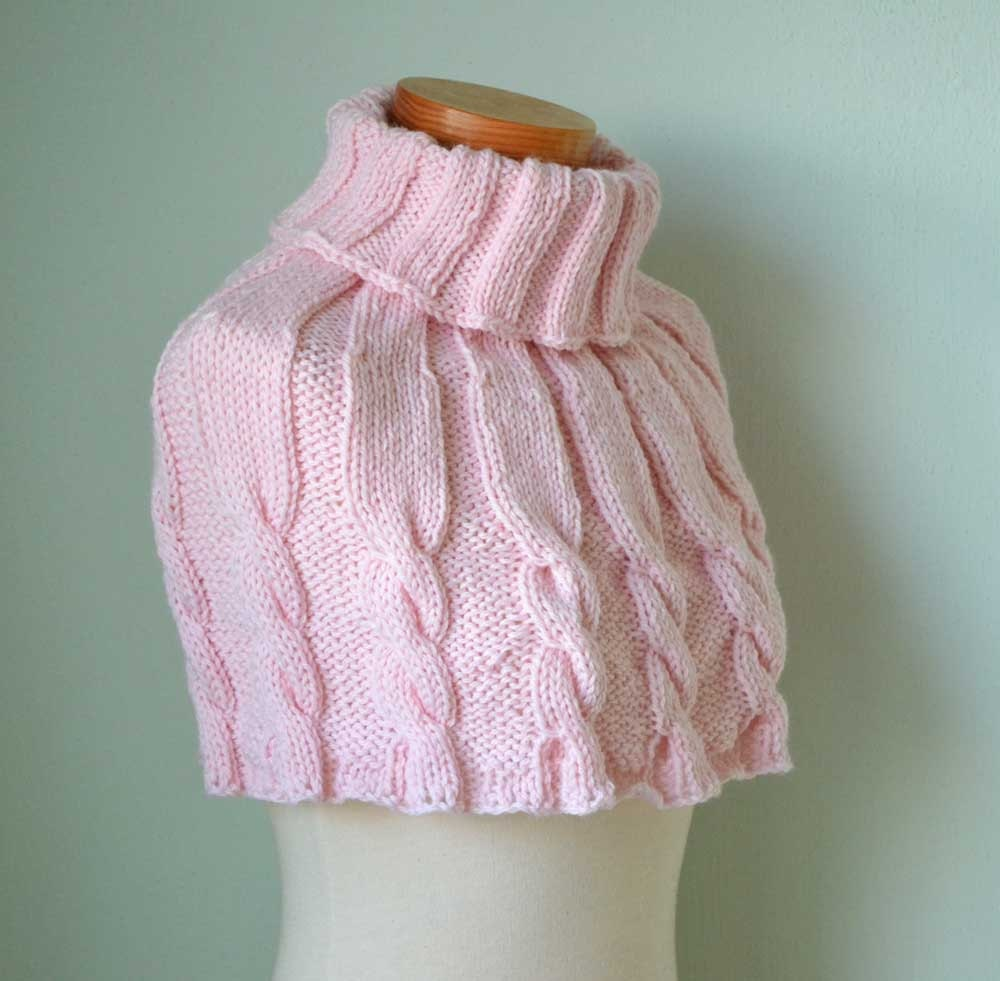 Knitted Capelet Pattern : Knitting pattern Pink cabled capelet PDF by BernioliesDesigns