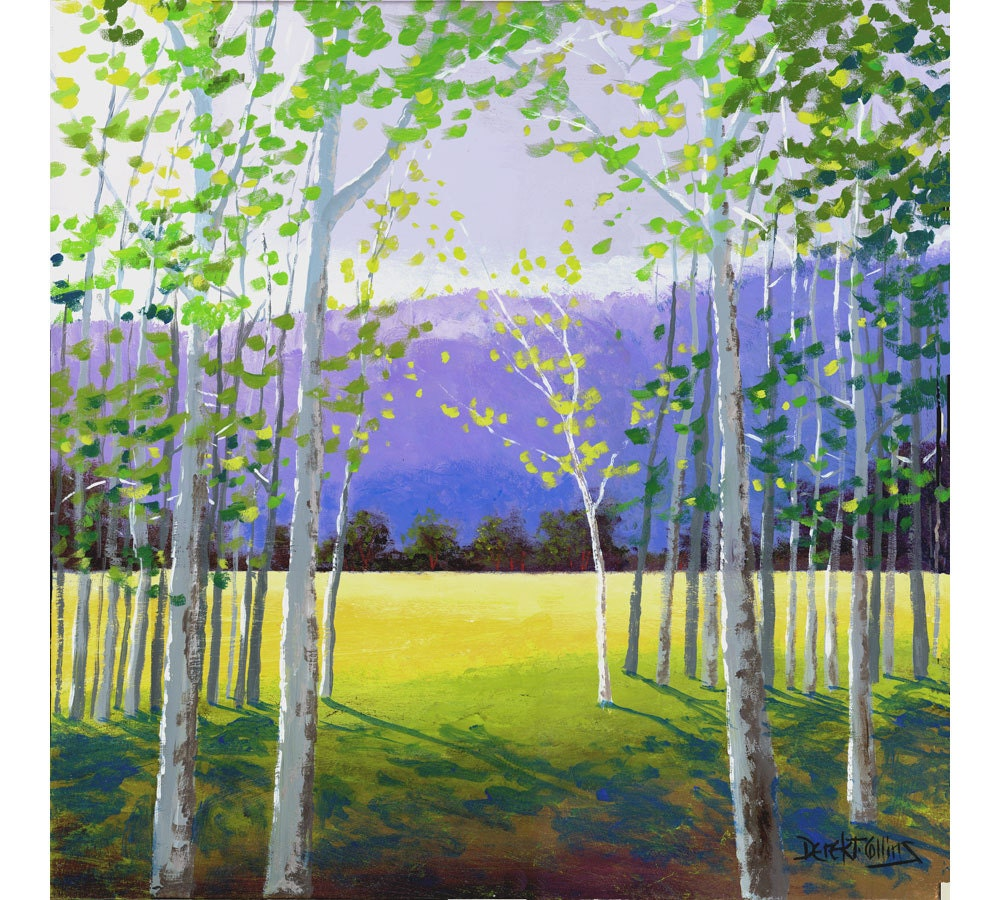Landscape Painting Print Of The Aspen Birch Trees By