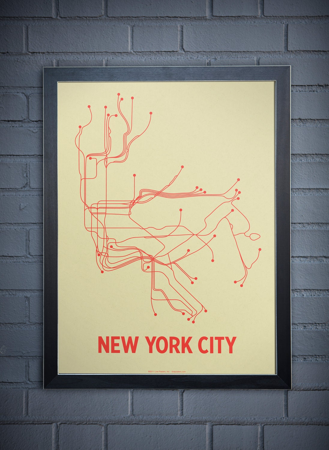 NYC Lineposter Screen Print - Cement Green/Orange