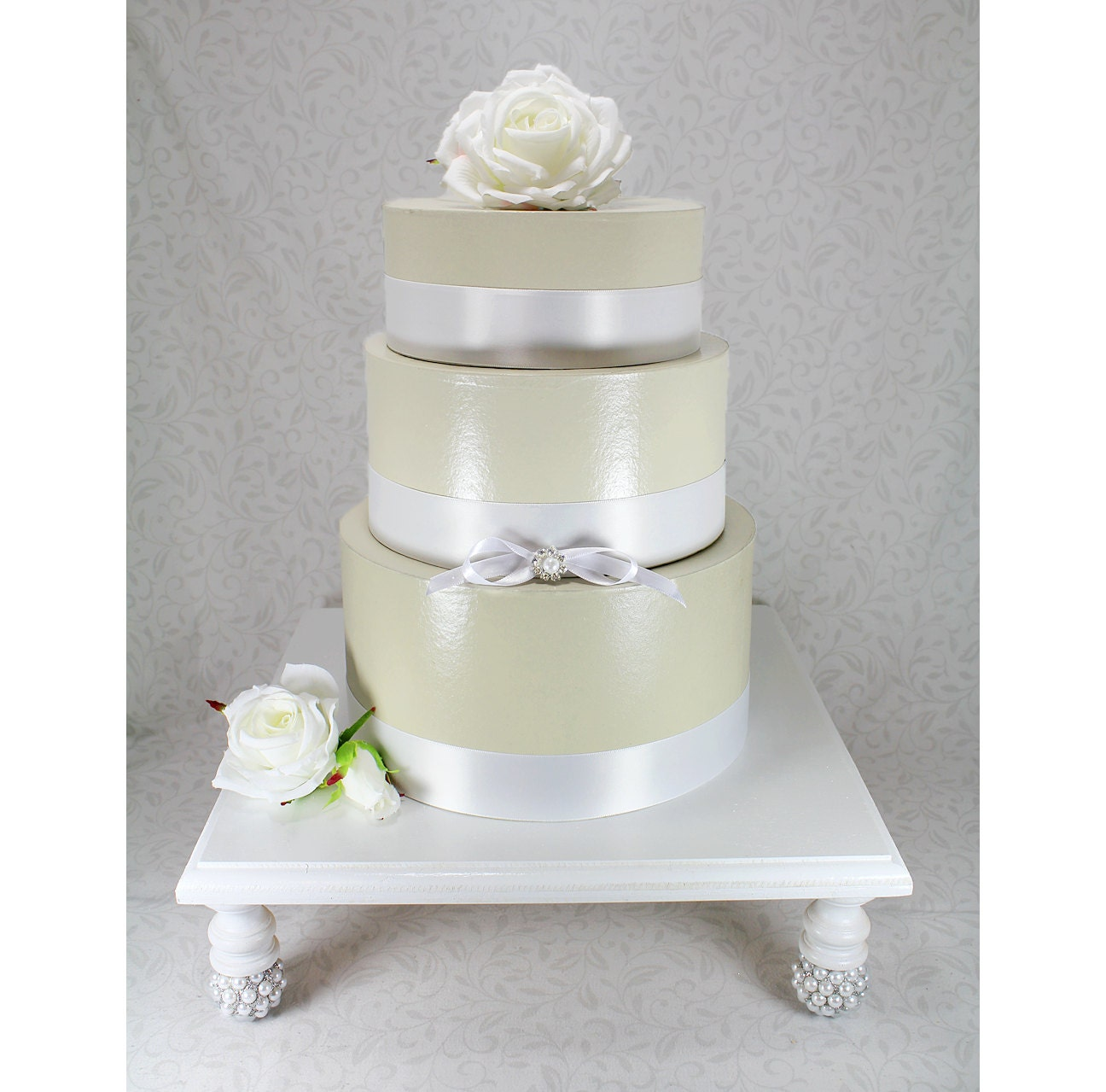 White & Silver Square Wedding Cake Stand Cupcake by