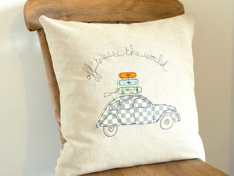Embroidered Pillow Cover - 'Off to See the World' in blue - 16x16