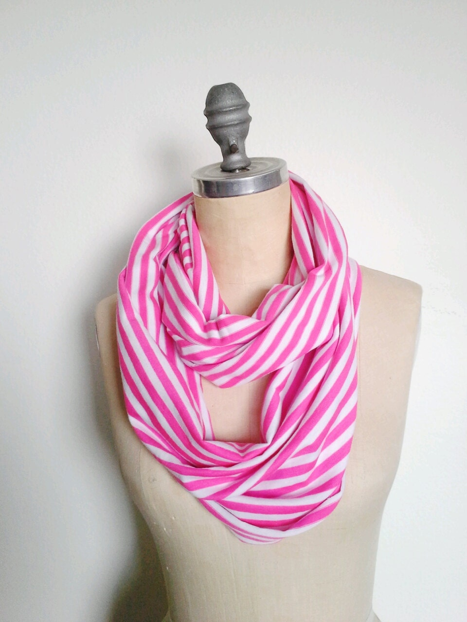 Jersey Infinity Circle Scarf Light Weight White and Pink Stripe - SevenWhiteRabbits